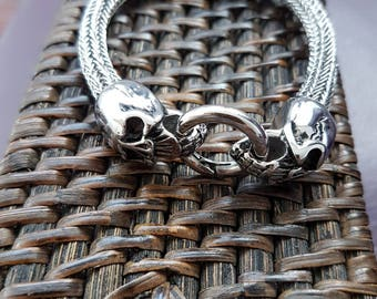 Viking bracelet, stainless steel braid necklace, bracelet with skull motif
