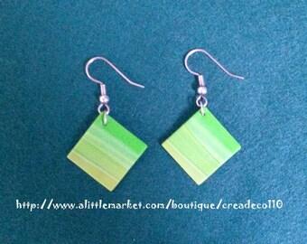 Gradient Green polymer clay earrings