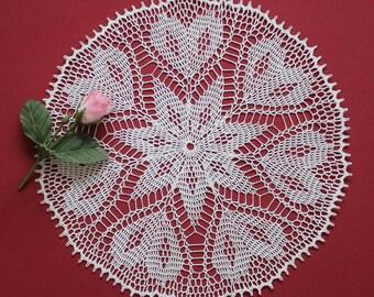Crochet doily, lace crochet doily, white crochet doily, crochet coaster,  Heart Doily, Valentine decor, Valentine's day gift,  center piece