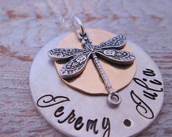 Personalized Necklace - Dragonfly Mother's Necklace - Free - Hand Stamped Jewelry - Personalized Jewelry