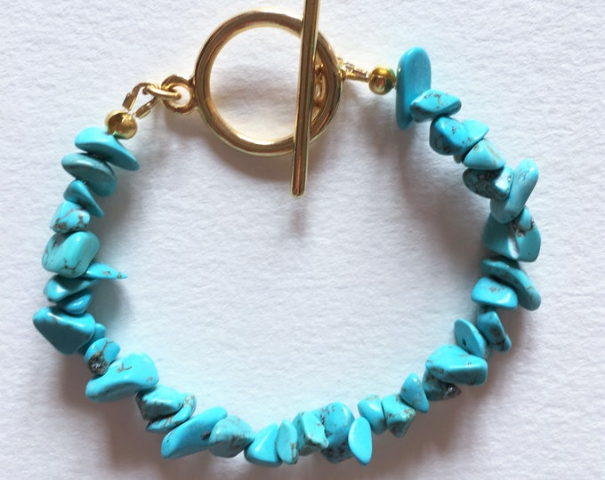 Turquoise bracelet, Golden bracelet with turquoise gemstones