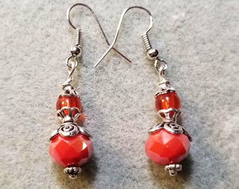 Red Victorian glass beaded earrings.