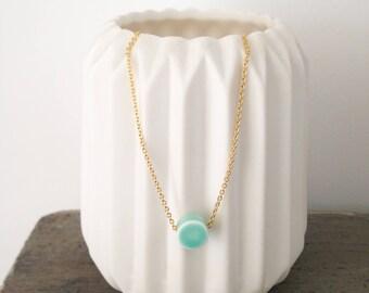 """Collier """"Eos"""" en porcelaine turquoise"""