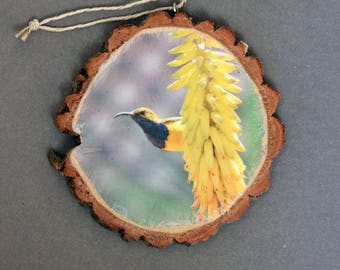 Olive-backed Sunbird Rustic Photo Ornament