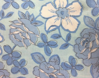 Vintage Sheet Fabric / 81x94 / blue floral on a blue background / Dan River Dantrel no iron muslin / reclaimed fabric / quilting / sewing