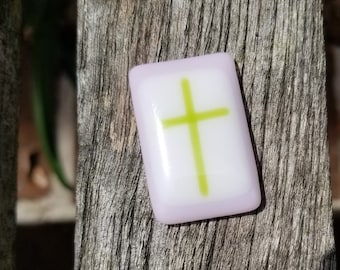 Comfort Pocket Cross Fused Glass - Worry Stone - Charm - Christian Gift - Pink and Green