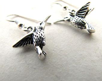 Hummingbird Earrings, Humming Bird Earrings, Silver Hummingbird, Bird Earrings, Bird Lover