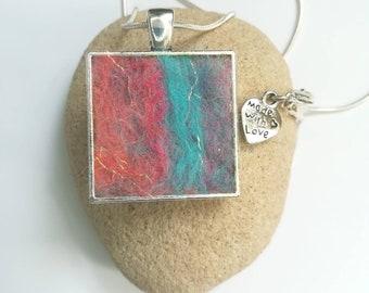 Handmade Square Felt Pendant Necklace