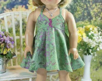 18 Inch Doll DRESS in Green Batik with Necklace Headband and SANDALS Option for dolls like American Girl