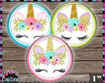 "Cute Unicorn Faces 2 2018, Floral, Fantasy - INSTANT DIGITAL DOWNLOAD - 1"" Bottlecap Button Bow Images (4x6) Digital Collage Sheet"