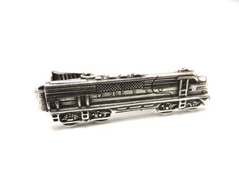 Train Tie Clip, Santa Fe Locomotive Tie Bar, Train Tie Bar, Silver or Antiqued Brass Finishes, Gifts For Dad, Gifts For Husband