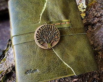 AUTHENTIC LEATHER Olive Tree of Life Bronze Personalized Rustic Leather Journal Sketchbook Notebook Wedding Guest Book Travel Journal