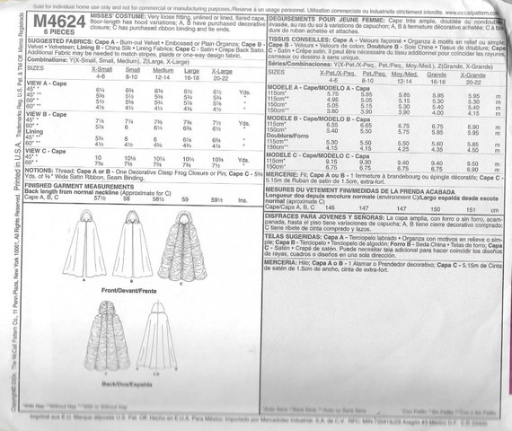 McCall\'s M4624 Misses Ruched Hooded Cloak Vampiress Costume Sewing ...