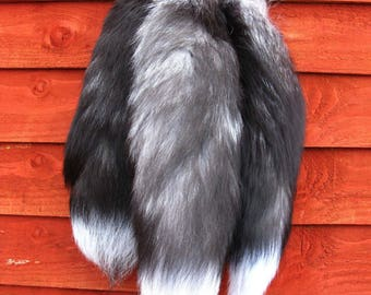 Amazing real silver fox fur tail lucky charm keyring, natural colours, LK02