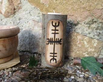 Pay wooden Candle Holder Protection Rune pyrography • Pagan wooden candle cover with Rune of healing Pirograbada • Witch, Viking, Celtic