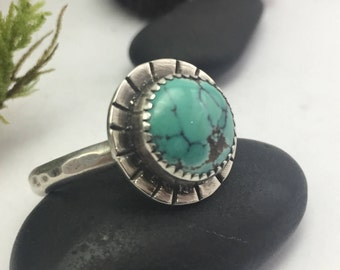 Turquoise Ring, Size 9 1/2, Sterling Silver, Blue Ring, Round, Spiderweb Turquoise, December Birthstone, Sagittarius, Boho, Silver Jewelry
