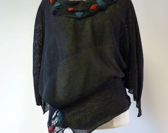 Boho artsy asymmetrical black linen sweater, L size. Only one sample.