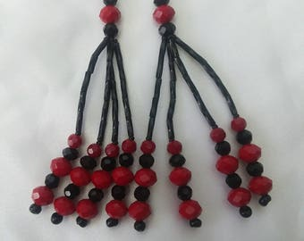 Red and Black Beaded Nipple Tassels for Burlesque Pasties