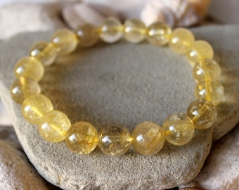 12mm Gold Rutile Quartz Bracelet, Gold Rutilated Quartz Bracelet, Venus Hair Bracelet, Genuine Golden Rutile Quartz Bracelet, Gold Rutile