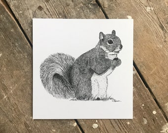 Nutty the Squirrel Illustrated Print