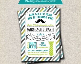 Little Man Mustache Invitation - aqua and green | Little Man Invite | Mustache Bash Invitation | Moustache Invitation | digital printable