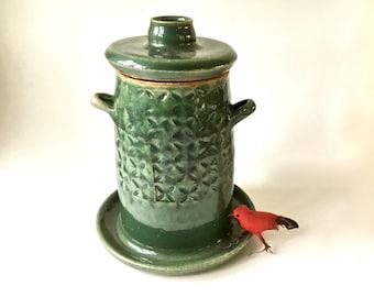 Hand Made Pottery Bird Feeder Hangable Bird Feeder Wheel Thrown Pottery Bird Feeder