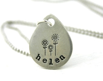 Mothers necklace with Childrens Names. Name Necklace - Personalized Jewelry - Family Jewelry - Teardrop Pendant - Flower or Tree Design