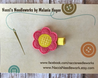 Felt Hair Clip- Spring Flower Hair Clip- Coral Flower with Yellow Center