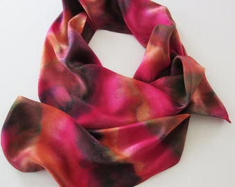 Red Silk Scarf, Hand Painted Red Silk Scarf, Brown Silk Scarf, Orange Silk Scarf, Hand Painted Silk Scarf, Red Scarf, Autumn Colors