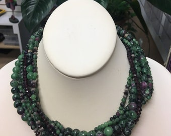 7 Strand Ruby Zoisite Necklace with Silver w/ 2 1/2 sterling silver extender