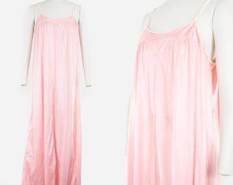 Vintage Pink & White Slip - Diane Von Furstenberg - Scoop Neck  - Lingerie - Night Wear - Lounge Wear - Night Gown - Large