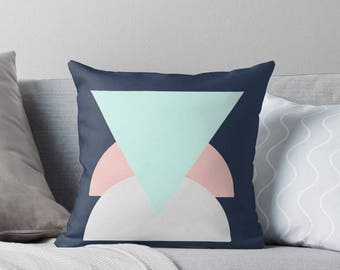 Geometric  Throw Pillow |Cushion| Mint and Blush|Decorative Cushion|Peach|Navy|Triangles|Semi-Circle