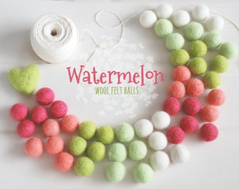 Watermelon Felt Balls  - 100% Wool Felt Balls - 50 Wool Felt Balls - 2cm Felt Balls - Watermelon Garland - Watermelon theme - Watermelon Fun