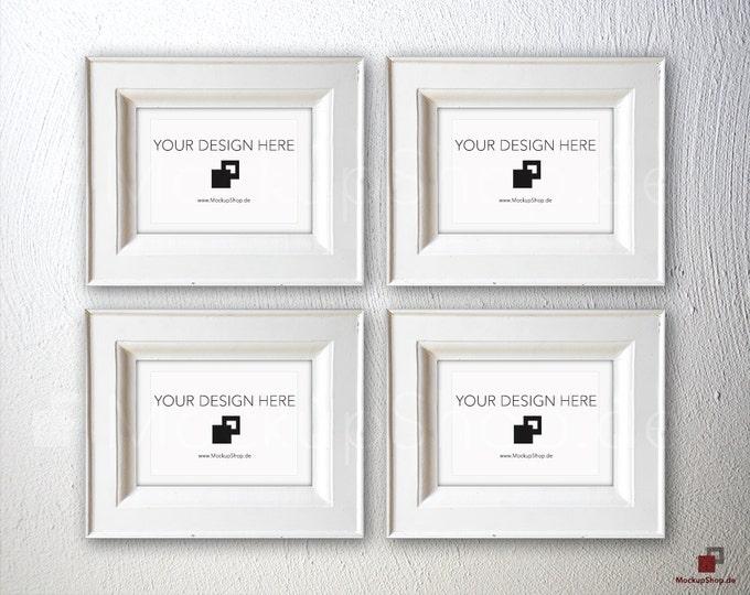 NORDIC FRAME MOCKUP, Din A6, 4 old white Frame Mockup, Empty Frame Mockup in Vintage Stil, Old Vintage Frame Mockup, Vertical Vintage
