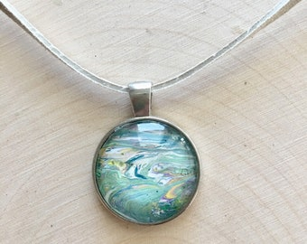 "1"" Silver and Glass Necklace Pendant #49 Multicolored"