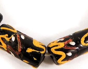 6 Wedding Cake Venetian Trade Beads Black Aventurine Africa 95374
