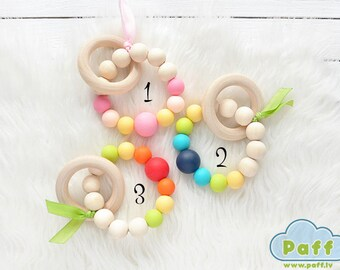 Baby Teething Toy Wooden Teether Star Teether Silicone Bead Teether Teething Jewelry Wooden Teething Ring