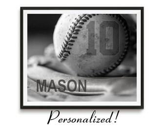 Personalized baseball gifts, Baseball art, Game room art, Baseball gift, Canvas Sports decor, Boys room art, team gifts, Sports // Baseball