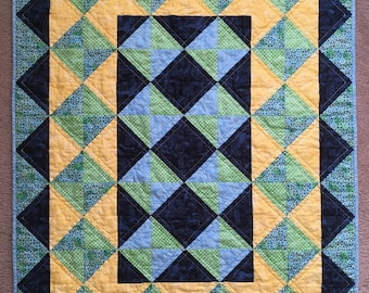 Crib/Lap Quilt in blues, green and yellow
