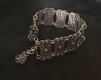 Wide sterling filigree link bracelet from Turkey. Hand made, delicate, lovely.