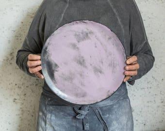Large Serving Platter, Ceramic Cake Plate, Handmade platter, Ceramic Platter, Pink Platter, Ceramic Serving Plate, Gift For Her