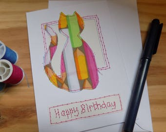 Cat Birthday Card, Stitched Collage  Card, Greetings card Blank Card, Note Card