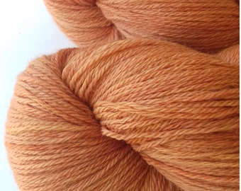 Hand dyed yarn, merino 500, 4ply, naturally dyed, peachy brown,  MER500/O/3