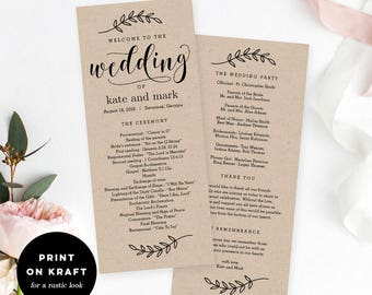 floral wedding program editable wedding program printable
