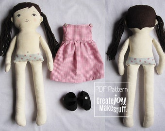 "18"" Dress Up Doll Sewing Pattern with dress and shoes - Tutorial - cloth - fabric- rag doll"