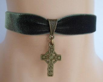 green velvet choker, celtic cross choker, cross necklace, stretch ribbon, antique bronze