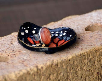Abstract Monarch Butterfly Wing Ring Trinket Dish, Primitive Polymer Clay Hand Painted Jewellery Dish