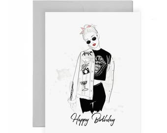 Rock n' Roll Birthday - Birthday Card, Greeting Card, Fashion Illustration, Accessories Card, Art, Blank Interior, Edgy, Street Style, Hip