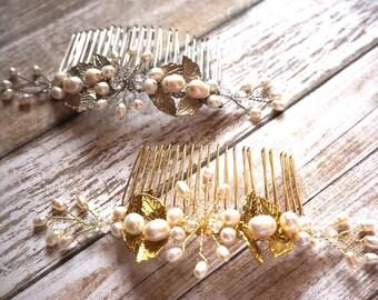 bridal comb, rose gold comb, gold comb, handmade comb, veil, bridal accessory, wedding comb, bridal headpiece, wedding accessories, leaves