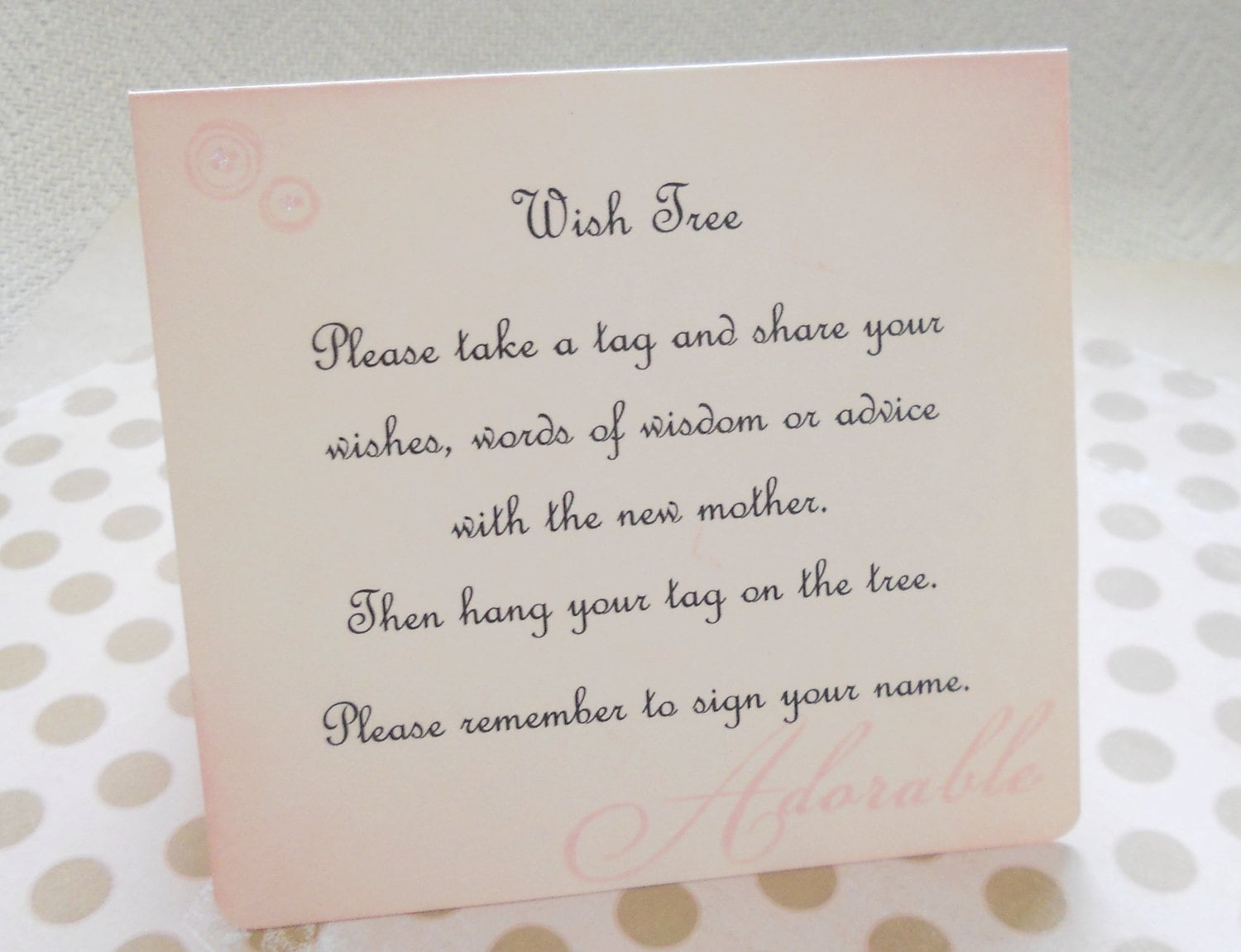Wish card instruction sign baby shower wish tree zoom kristyandbryce Gallery